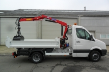VW Crafter with tipper and crane for municipal administration